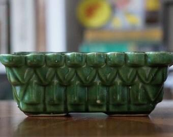 Upco Planter/ Emerald Green/ Pyramid Design