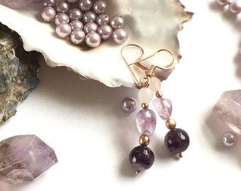 Amethyst Earrings, Lavender Amethyst Earings, Purple Earrings, Rose Quartz Earrings, Lilac Earrings