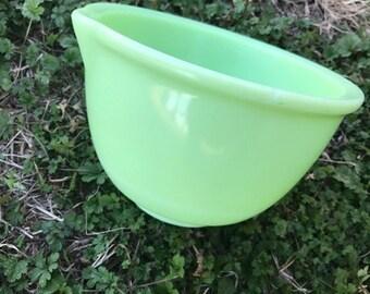 Vintage Jadeite Mixing Bowl, with Spout, Dish, Kitchen, Retro, Decor