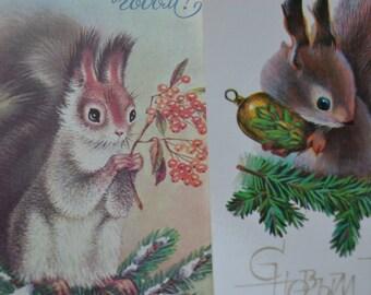 2 Russian unused Russian Christmas vintage postcards, Squirrel, Winter scene, Children's postcards, Soviet postcards, Christmas illustration