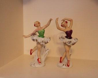 Beautiful Vintage Spaghetti Trim Textured Ballerina Dancer Figurines- Ballet