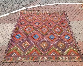 """Kilim rug, Vintage area rug, 92"""" x 78"""", Turkish kilim rug,rug, kelim rug, vintage rug, bohemian rug, Turkish rug, rugs, striped rug, 236"""