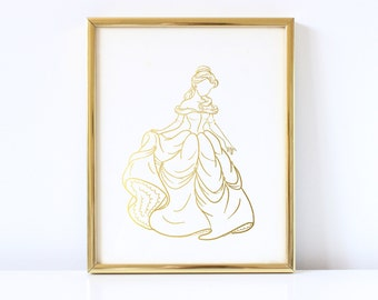 Belle Inspired - Disney Inspired - Princess - Beauty & the Beast Inspired - Real Foil - Faceless - Gold Foil - Hand Drawn - Foil Print