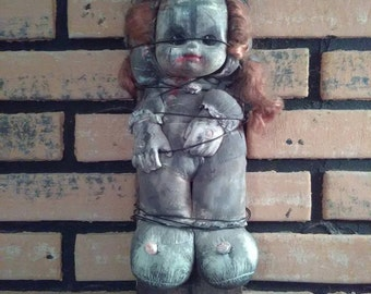 Scary Doll Possibly Haunted and or Possessed OOAK Horror Art Doll. Wired to an old board and ready to hang on your wall ! Great Gift !!!