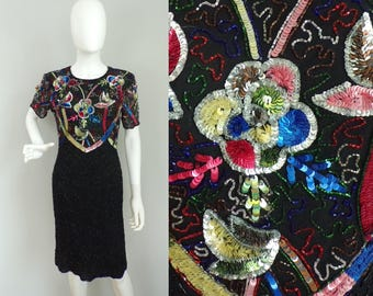 90s Colorful Beaded Dress, Floral Sequin Fancy Dress Silk & Beaded Evening Dress Party Dress Multi Color Short Sleeve Dress Size Small 1990s