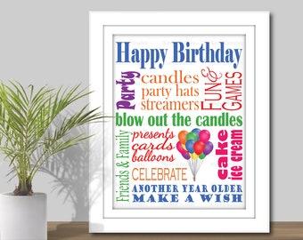 Happy Birthday Subway Art - 3 Sizes, 5x7, 8x10, 11x14. PRINTABLE, Birthday Word Art, Happy Birthday Sign, Birthday Party Decor, Balloons