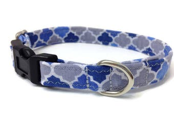 Blue and Grey Extra Small dog collar, Toy Dog collar, Chihuahua dog collar, tiny dog collar, yorkie dog collar, boy dog collar