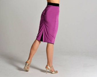 CLARA reversible! slit skirt in lilac & black - size M only