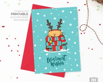 Christmas printable card, Printable Christmas card, cat, reindeer, scarf, Patchwork, Warmest Wishes, DIY, Instant download, ZWDXMAS160032