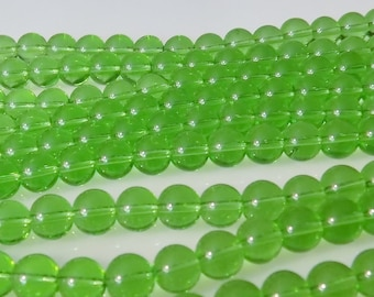 """Light Green 6mm Round Glass Beads (Two 11"""" Strands)"""