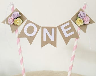 Bunting Cake Topper - 1st Birthday Kraft and Pastels with paper roses
