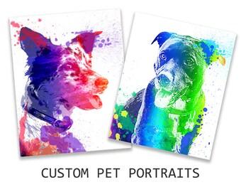 Custom Pet portrait, Pop art portrait , Colorful Dog portrait, Watercolor painting, Personalized Gift for pet lover, Commission DIGITAL FILE