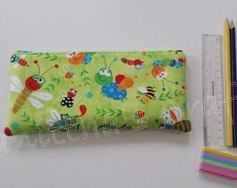 Bugs divertidos lápiz caso, bolsa de la cremallera de tela, caja de lápiz, tela lápiz caso escuela supplie, regalo para niños, regalo para el niño, divertido portalápices de animales