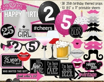 Photo Booth Props, HAPPY 25TH BIRTHDAY, printable sheets, instant download, hot pink, black, silver