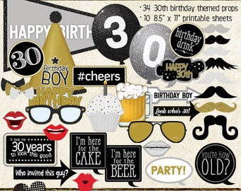 Photo Booth Props, HAPPY 30TH BIRTHDAY, boy, guy, man, printable sheets, instant download, black, gold, silver