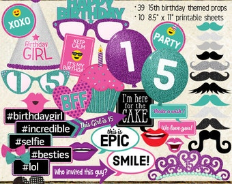 Photo Booth Props, HAPPY 15TH BIRTHDAY, girl, party, printable sheets, instant download, purple, pink, teal, turquoise