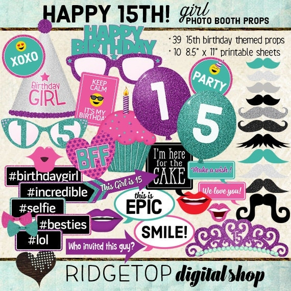 Photo Booth Props Happy 15th Birthday Girl Party Printable