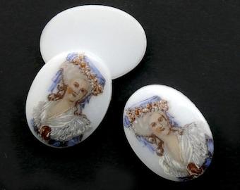 "Marie Antoinette ""porcelain"" cabochon cameo, Germany, glass picture stone 18x13mm 4 pcs E15-2"