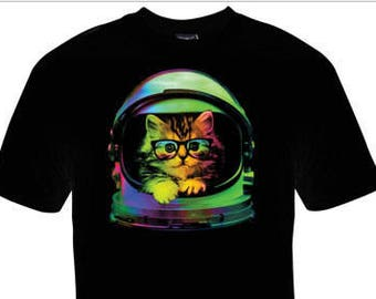Kids/Youth Space Kitten with Glasses T-Shirt!
