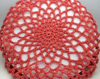 Handmade Coral Vintage Style Crochet Hair Snood 1940's Style Large