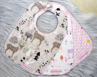 Baby Bibs Set of 3, or Single Bib, Baby Girl Gift, Baby Shower Gift, New Mums - Deers