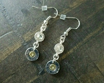 Handmade .223 AR15 Hanging Dangle Crystal Bullet Earrings with or without Swarovski Crystals Dangle Earrings