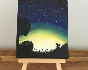 Moongazing Hare Painting