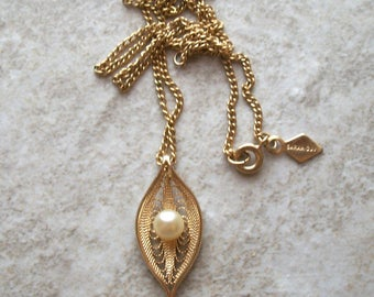 """3pc Set Vintage Signed Sarah Cov Clip on Earrings and Pendant Necklace,Gold tone,17"""",petite simulated pearl,filigree"""