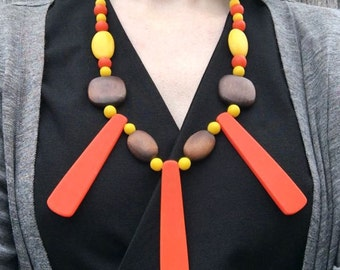 Chunky bib necklace / colourful necklace / orange boho necklace / colourful necklace / wooden necklace / birthday gift for her