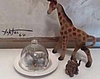 Small Garden/Display Cloche with Vintage Giraffe Base