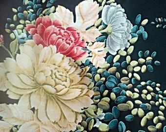Vintage Black Anne Klein Designer Silk Scarf with Flowers