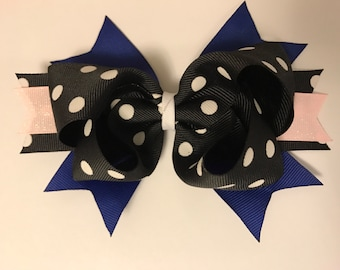 Black, blue and pink boutique bow