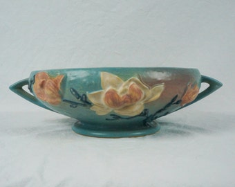 Roseville Blue Magnolia Large Console Bowl 5-10