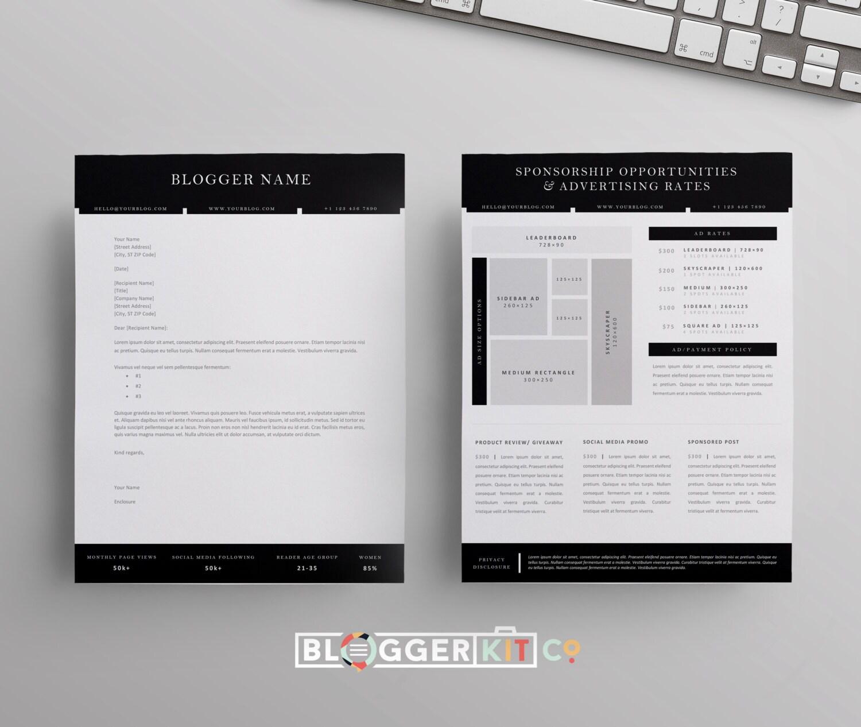 blog sponsorship proposal letter template ad rate sheet blog media kit pitch kit ms word. Black Bedroom Furniture Sets. Home Design Ideas