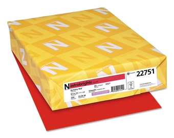 Astrobrights 22751 65 Lb CARD STOCK Paper Re-Entry RED Letter Size 250 Sheet Pack