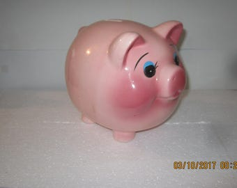 Pink Piggy Bank Mid Century-Large Plump Size-Ceramic Pig