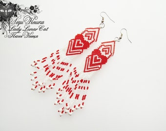Heart earrings Red earrings White earrings Love earrings Long earrings Romantic earrings Beaded earrings Valentine's Day Gift for her woman