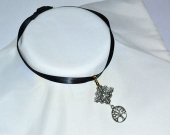 Gothic Silver Spiritual Tree Of Life Choker Necklace