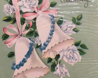 Vintage Wedding Anniversary Card, NOS, Unused Vintage Card, Pink Card, Wedding Bells