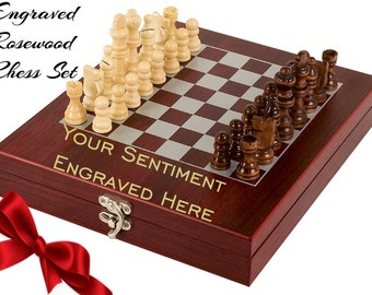 Engraved Rosewood Chess Set, Personalized Chess Set, Chess Board, Custom Chess Set, Personalized Gift, Groomsman Gift, Groomsman Gift, Chess