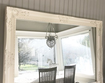 White Mantle Mirror, Large Ivory Mirror, Leaning Mirror, Nursery Mirror,  Living Room