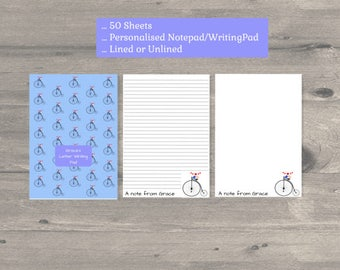 Birds Penny Farthing bicycle  personalized notepad,  personalized stationary, personalised notepad, personalised stationary,  letter writing