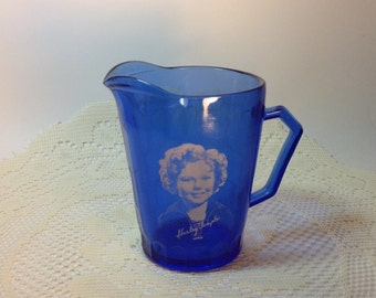 Vintage Shirley Temple Creamer Child Pitcher Blue Glass Shirley Temple Collectible Creamer Pitcher Shirley Temple Lover or Collector