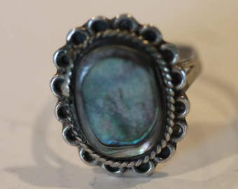 Taxco Mexico vintage sterling silver abalone shell ring size 6