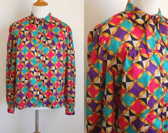 80s Colorful Circus Print Button Up Blouse with Bow Tie - Pink Purple Aqua and Gold Print - Fun Secretary Blouse - Size Small/Medium