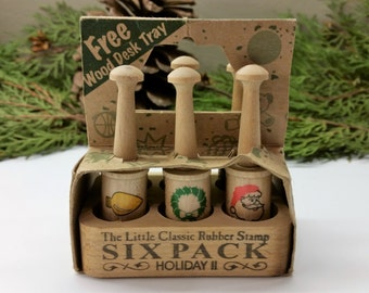 HAMPTON ART STAMPS Holiday ll Six Pack Little Classic Rubber Stamps In Original Box Circa 1990's