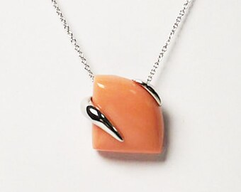 Coral Pink Triangle Shape Sterling Silver Pendant