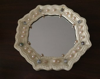 Vintage mirror, octagonal resin, upcycled with 1940's costume jewelry  pieces.