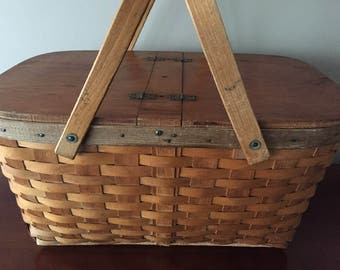 Vintage picnic basket, oak splint with 2 hinged lids.  From the 1940's.  In good condition with some wear on wood.