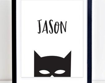 Batman Print, Name Wall Art, CUSTOM Name, Batman Printable, Super Hero Print, Batman Wall Art, Boys Nursery Art, Boys Room Decor, Name Print